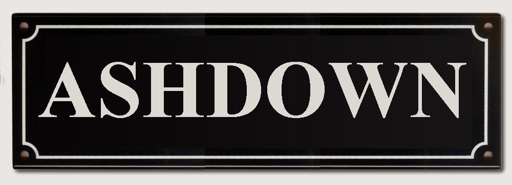 House Name Rectangel Black enamel plate with White letters 300mm wide x 100mm high   POA