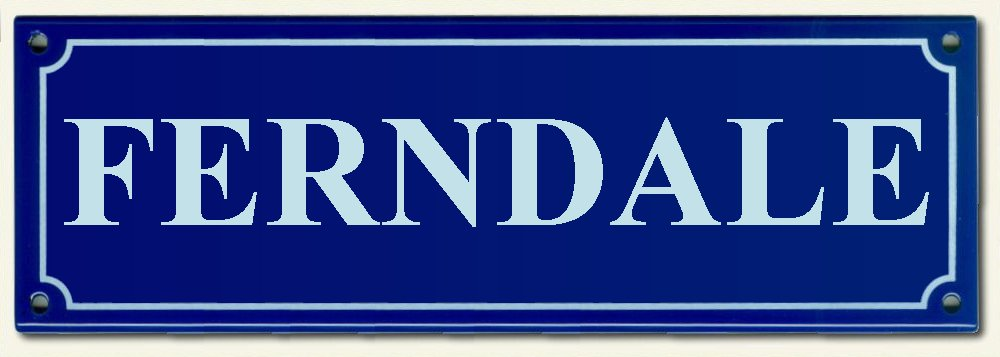 House Names Rectangel Blue enamel plate with White letters 300mm wide x 100mm high   POA