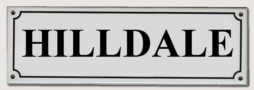 House Names Rectangel White enamel plate with Black letters 300mm wide x 100mm high   POA